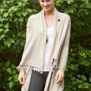 Matilda Jane fringe Open  cardigan sweater beige m